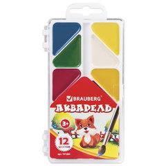 Краски акварельные BRAUBERG «Мозаика», 12 цветов, медовые, треугольные кюветы, пластиковая коробка, без кисти