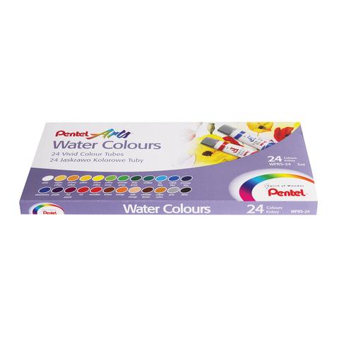 """Краски акварельные художественные PENTEL """"Water Colours"""", 24 цвета, туба 5 мл, картонная упаковка"""