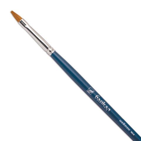 Кисть художественная «Байкал», синтетика, плоская, №4, длинная ручка