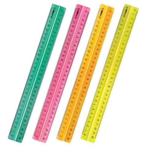 """Линейка пластиковая, 30 см, СТАММ """"Neon Cristal"""", с держателем, неоновая, ассорти"""