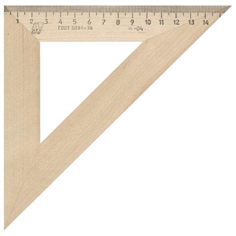 Треугольник деревянный УЧД, угол 45, шкала 16 см