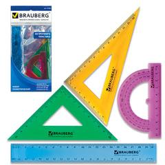 Набор чертежный средний BRAUBERG «Crystal» (линейка 20 см, 2 угольника, транспортир), цветной