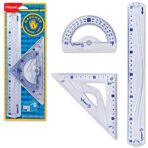 Набор чертежный MAPED (Франция) «Geometric», для левши: линейка 30 см, треугольник, транспортир