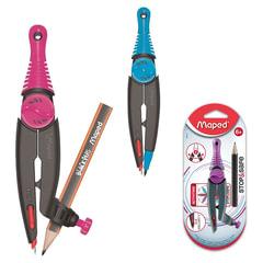 Циркуль MAPED (Франция) «Stop&Safe», 130 мм, пластиковый, карандаш в комплекте, ассорти, блистер