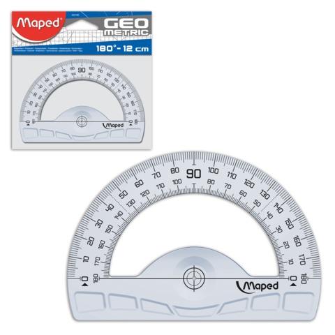 Транспортир MAPED (Франция) «Geometric», 12 см, 180 градусов, прозрачный, европодвес
