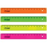 Линейка пластиковая 16 см, СТАММ, флуоресцентная, ассорти, 4 цвета