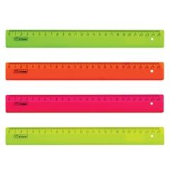 Линейка пластиковая 25 см, СТАММ, флуоресцентная, ассорти, 4 цвета