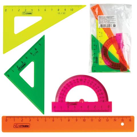 Набор чертежный СТАММ малый: линейка 16 см, треугольник 2 шт., транспортир, цветной