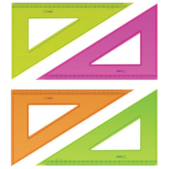 Треугольник пластиковый, угол 30, 23 см, СТАММ «Neon Cristal», тонированный, прозрачный, неоновый, ассорти