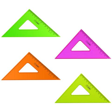 """Треугольник пластиковый, угол 45, 12 см, СТАММ """"Neon Cristal"""", тонированный, прозрачный, неоновый, ассорти"""