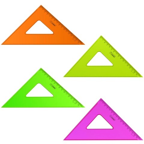 Треугольник СТАММ «Neon Cristal», угол 45, шкала 16 см, тонированный, прозрачный, неон. ассорти