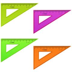 Треугольник пластиковый, угол 30, 10 см, СТАММ «Neon», тонированный, непрозрачный, неоновый, ассорти