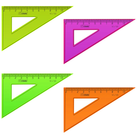 Треугольник СТАММ «Neon», угол 30, шкала 10 см, тонированный, непрозрачный, неон. ассорти