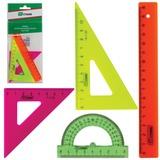 Набор чертежный малый СТАММ «Neon», (линейка 16 см, треугольник 2шт., транспортир), неоновый, европодвес