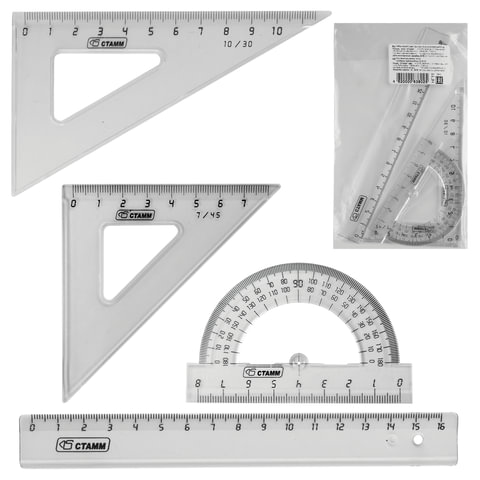 Набор чертежный малый СТАММ (линейка 16 см, треугольник 2шт., транспортир), тонированный прозрачный