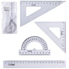 Набор чертежный средний СТАММ (линейка 20 см, 2 угольника, транспортир), прозрачный