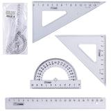 Набор чертежный средний СТАММ (линейка 20 см, треугольник 2шт., транспортир), прозрачный