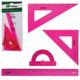 Набор чертежный большой СТАММ «Neon Cristal» (линейка 30 см, треугольник 2 шт., транспортир), европодвес