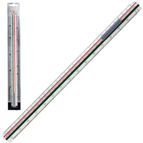Линейка масштабная 30 см, 6 шкал, пластик, KOH-I-NOOR, 1:20/25/50/100/200/500, трехгранная