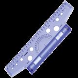 Линейка с роликом (рейсшина) СТАММ, пластиковый ролик, 30 см, с транспортиром, прозрачная