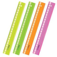 Линейка пластиковая 20 см, СТАММ «Neon Cristal», прозрачная, неоновая, ассорти
