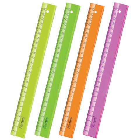 """Линейка пластиковая 25 см, СТАММ """"Neon Cristal"""", прозрачная, неоновая, ассорти"""