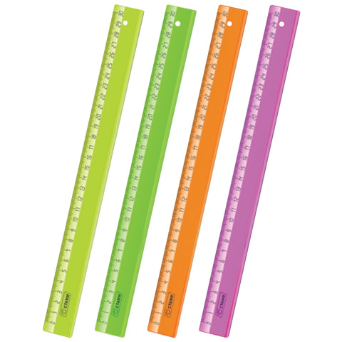 """Линейка пластиковая 30 см, СТАММ """"Neon Cristal"""", прозрачная, неоновая, ассорти"""