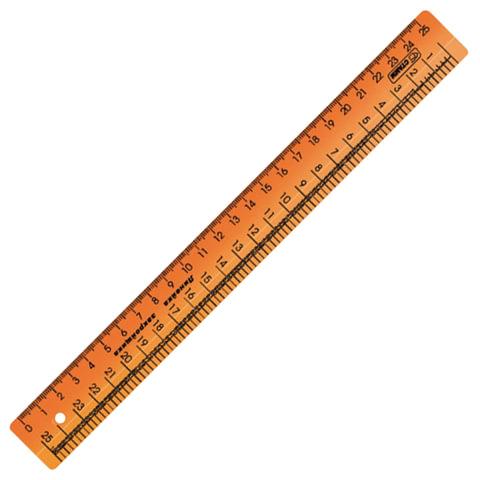 Линейка закройщика пластиковая 25 см, СТАММ, непрозрачная, оранжевая, шкала сантиметровая и масштабная 1:4