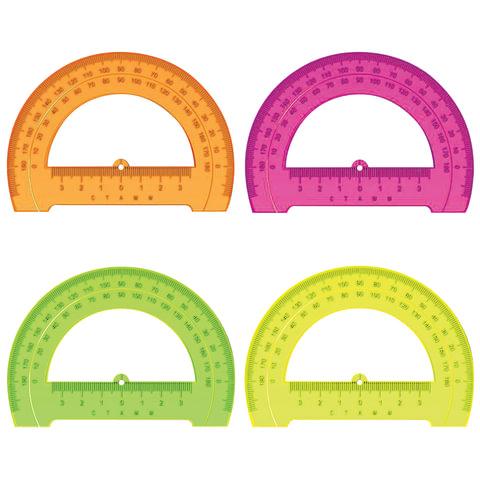 Транспортир СТАММ «Neon Cristal», 12 см, 180 градусов, тонированный, неоновый, ассорти