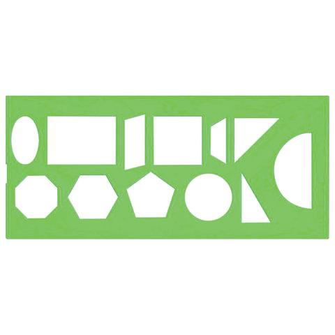 Трафарет СТАММ геометрических фигур, 12 элементов, зеленый