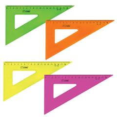 Треугольник пластиковый, угол 30, 18 см, СТАММ «Neon Cristal», тонированный, прозрачный, неоновый, ассорти