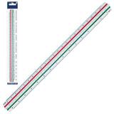Линейка масштабная 30 см, 6 шкал, пластиковая, STAEDTLER (Германия), 1:100/<wbr/>200/<wbr/>250/<wbr/>300/<wbr/>400/<wbr/>500, трехгранная