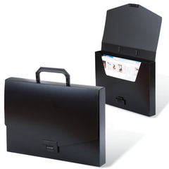 Портфель пластиковый BRAUBERG «Energy», А4, 256×330 мм, без отделений, черный