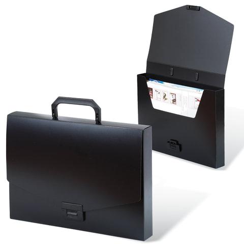 """Портфель пластиковый BRAUBERG """"Energy"""", А4, 256х330 мм, без отделений, черный"""