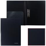 Папка с боковым металлическим прижимом и внутренним карманом BRAUBERG (БРАУБЕРГ) «Диагональ», черная, до 100 листов, 0,6 мм