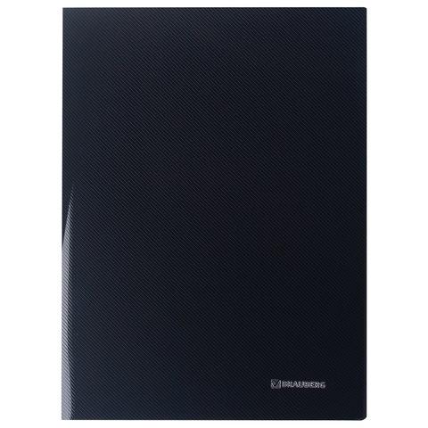 """Папка с боковым металлическим прижимом и внутренним карманом BRAUBERG """"Диагональ"""", черная, до 100 листов, 0,6 мм"""