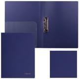 Папка с боковым металлическим прижимом и внутренним карманом BRAUBERG (БРАУБЕРГ) «Диагональ», темно-синяя, до 100 листов, 0,6 мм