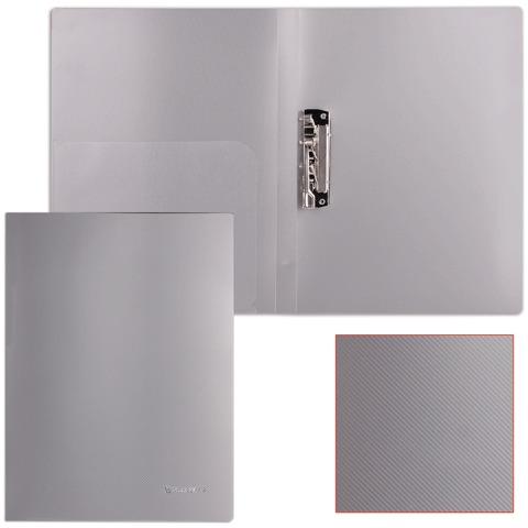 Папка с боковым металлическим прижимом и внутренним карманом BRAUBERG (БРАУБЕРГ) диагональ, серебристая, до 100 листов, 0,6 мм