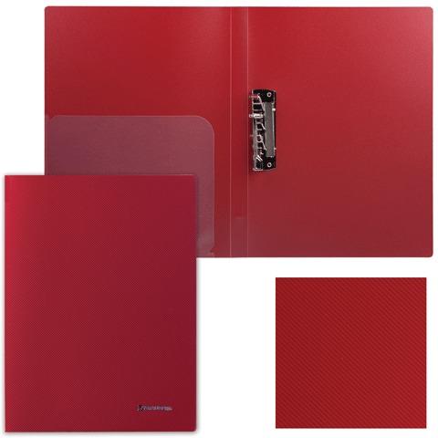 Папка с боковым металлическим прижимом и внутренним карманом BRAUBERG (БРАУБЕРГ) «Диагональ», темно-красная, до 100 листов, 0,6 мм