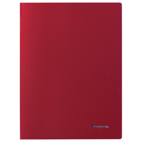 """Папка с боковым металлическим прижимом и внутренним карманом BRAUBERG """"Диагональ"""", темно-красная, до 100 листов, 0,6 мм"""
