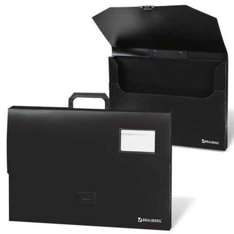 Портфель пластиковый BRAUBERG (БРАУБЕРГ), А3, 450×315×60 мм, без отделений, черный