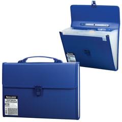 Портфель пластиковый BRAUBERG, А4, 332×245×35 мм, 13 отделений, текстура, пластиковый индекс, темно-синий