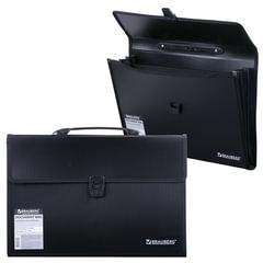 Портфель пластиковый BRAUBERG, 390×260×40 мм, 3 отделения, с окантовкой, черный