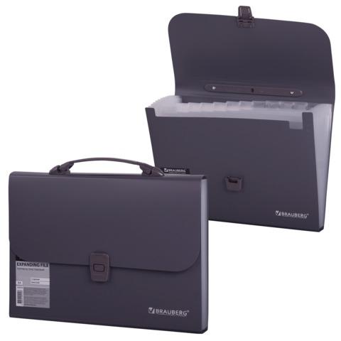 Портфель пластиковый BRAUBERG «Comfort» (БРАУБЕРГ «Комфорт»), А4, 327×254×30 мм, 13 отделений, пластиковый индекс, темно-серый