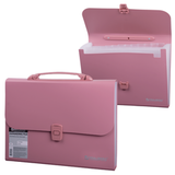 Портфель пластиковый BRAUBERG (БРАУБЕРГ), А4, 327×254×30 мм, стандартная фактура, 13 отделений, пластиковый индекс, розовый