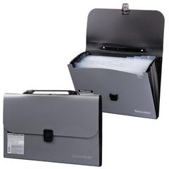 Портфель пластиковый BRAUBERG, А4, 327×254×30 мм, диагональная фактура, 13 отделений, пластиковый индекс, серебристый
