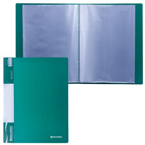 Папка 30 вкладышей BRAUBERG (БРАУБЕРГ) стандарт, зеленая, 0,6 мм