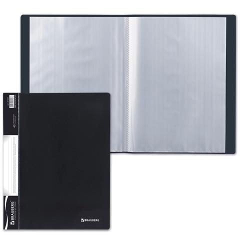 Папка 40 вкладышей BRAUBERG (БРАУБЕРГ) стандарт, черная, 0,7 мм