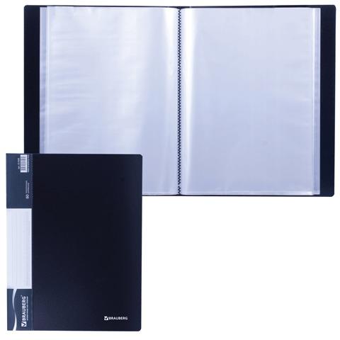 Папка 80 вкладышей BRAUBERG (БРАУБЕРГ) стандарт, черная, 0,9 мм