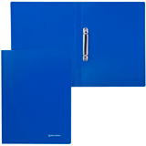 Папка на 2 кольцах BRAUBERG (БРАУБЕРГ), бюджет, 21 мм, синяя, до 80 листов, 0,5 мм